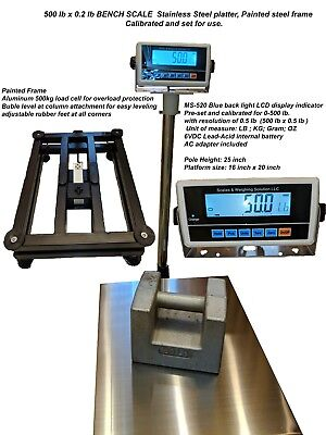 Large Bench Scale Ms-520 500 Shipping Floor Industrial 500lb X0.2 Lb Lbkggoz