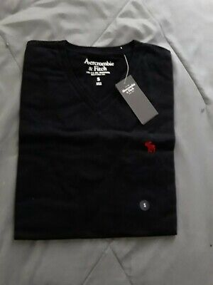 NWT Men Abercrombie & Fitch By Hollister SMALL ICON V-NECK TEE SIZE SMALL, BLACK