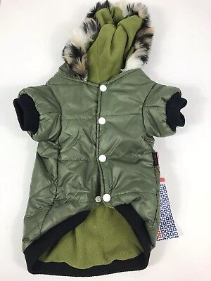 Petsoo Dog Jacket Size XXL Outdoor Waterproof Coat Clothing Green Hood Faux Fur
