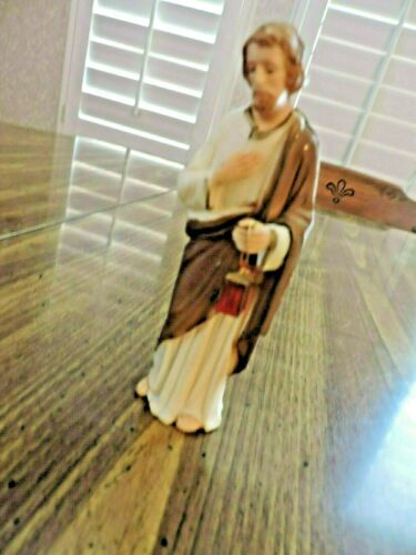 VINTAGE NATIVITY FIGURE.  JOSEPH (?) WITH HANGING LATERN. 5 IN. TALL.  HONG KONG