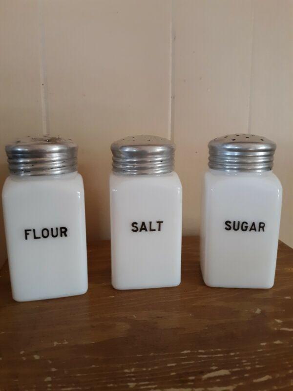 3 Vintage Range Shakers Salt Flour Sugar White Milk Glass
