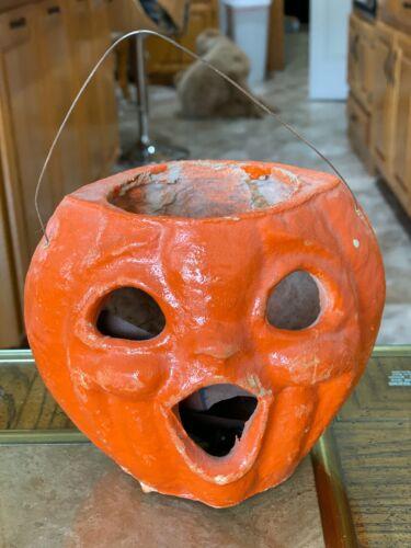 Vintage Papier Mache Jack O Lantern Pumpkin Double Sided with original insert