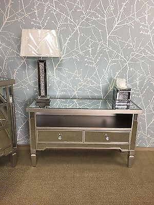 Champagne silver mirrored glass 2 drawer tv entertainment cabinet stand unit