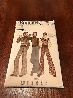 Vtg. 1970's Designer KENZO Butterick Fashion Pattern/Uncut/Unused