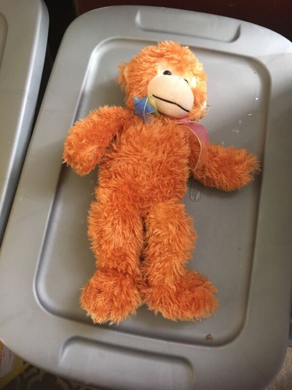 "Manley Toy Direct 12"" Plush Shaggy Monkey with ribbon"