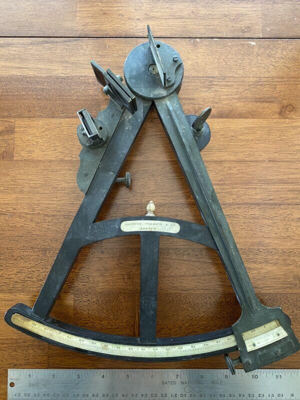 Antique 1800's Spencer Barrett & Co. London Brass Sextant Octant Maritime Tool