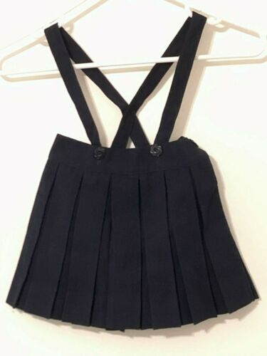 Vintage Girls Pleated Skirt Suspenders 1950s Navy Child 4T?