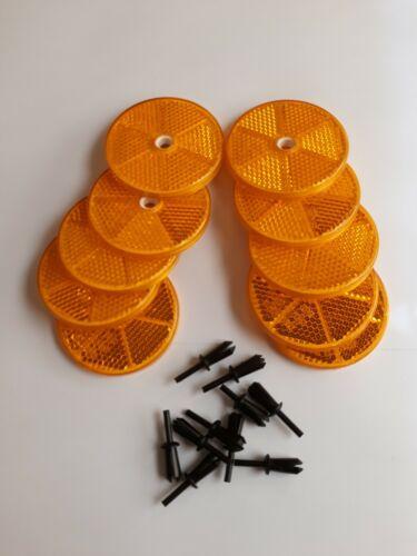 10 Stück Hella Reflektor Rückstrahler Orange Rund 60mm