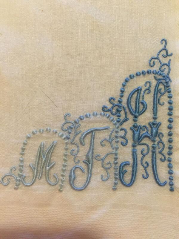 VINTAGE LINEN HANDKERCHIEF WEDDING BLUE TRIPLE MONOGRAM MTH BRIDAL
