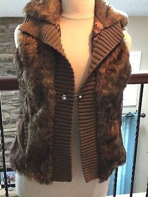 BACCI FUR AND KNIT VEST, WOMENS XL,BROWN,NWT