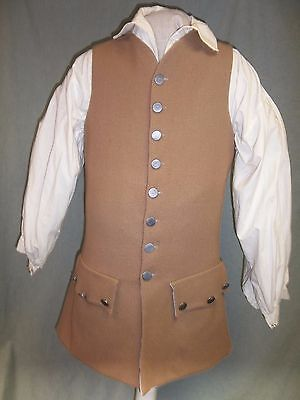 Mens S 1750 Style Wool/Linen Waistcoat,18th Century, F&I ,Longhunter, Pirate