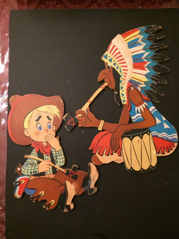 "Dolly Toy Company pressed cardboard  wall hangings Cowboy & Indian #246 ""Smokey"""