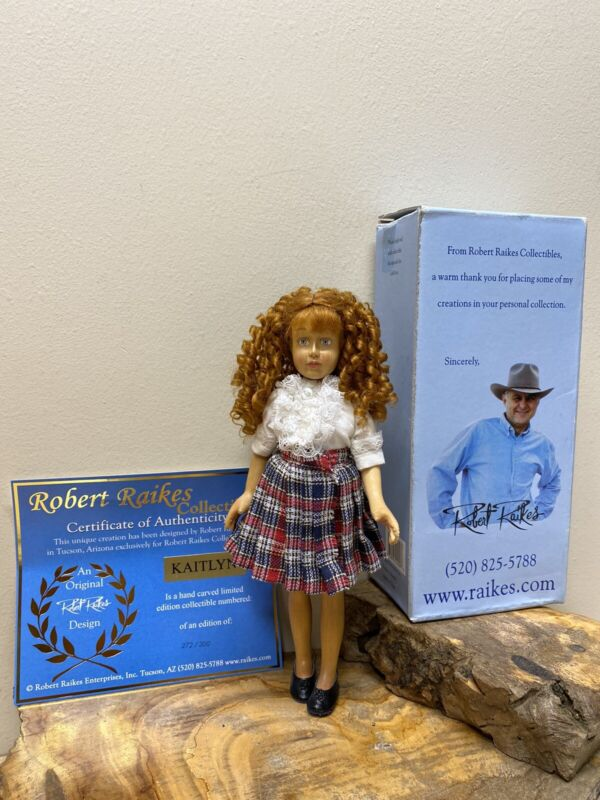 Kaitlyn 8-1/2-inch Wooden Doll by Robert Raikes. Hand signed with COA Very Rare!