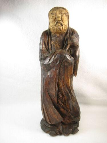 ANTIQUE SIGNED JAPANESE  BUDDHIST WOODEN STATUE BODHISATTVA DARUMA