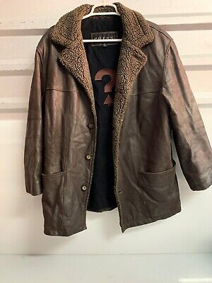 VINTAGE GUESS GENUINE LEATHER DARK BROWN Mens Size M BUTTON UP LEATHER JACKET!