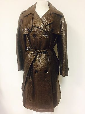 Belted Textured Wool Blend - MYCRA PAC BROWN SHIMMERY CROC TEXTURED WOOL BLEND BELTED TRENCHCOAT JACKET M(10)