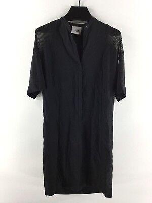 1330C Akris Punto Black Mesh-Sleeve Tunic Dress Women's Sz 4