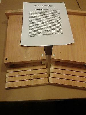"2 Single Chamber Bat Houses 5/8"" Cedar Handmade In USA"