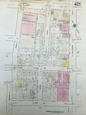 ORIGINAL 1953 CENTRAL CITY LA CA COLYEAR MOTOR SALES COMPANY SANBORN ATLAS MAP  - Party City Sale