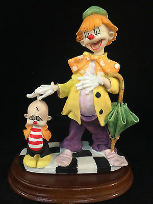 Adult Clowns (APEX Adult and Child Clown Figurine on Wooden Base 8-1/2