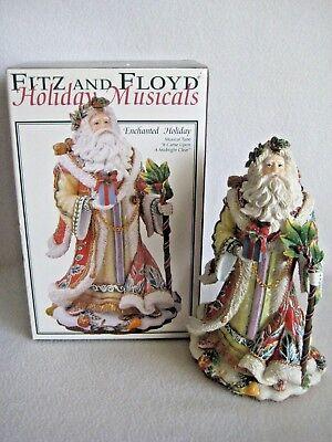 "Fitz & Floyd ""Enchanted Holiday"" Christmas Musical Santa Figurine W/Original Box"