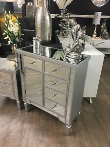 Georgia Silver Trim Mirrored Glass Chest of 5 Drawers 1 Door Cabinet Cupboard