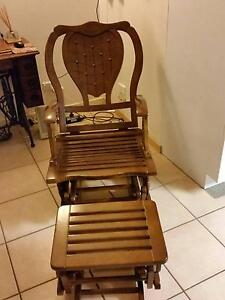 Timber Rocking Glider Chair with Footstool, adjustable back Molendinar Gold Coast City Preview