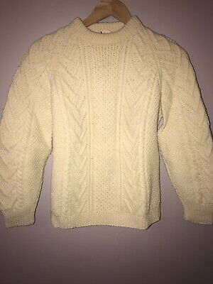 VINTAGE WOMENS CARDERY IRELAND WOOL FISHERMANS SWEATER made in Ireland small