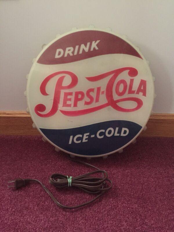 Lighted Pepsi-Cola Bottle Cap Sign