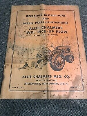 Allis Chalmers Wd Pick Up Plow Operators Manual
