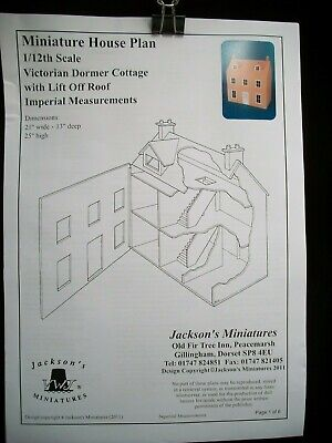 Dollhouse Plans: Victorian Dormer Cottage front opening design 1/12 scale A07