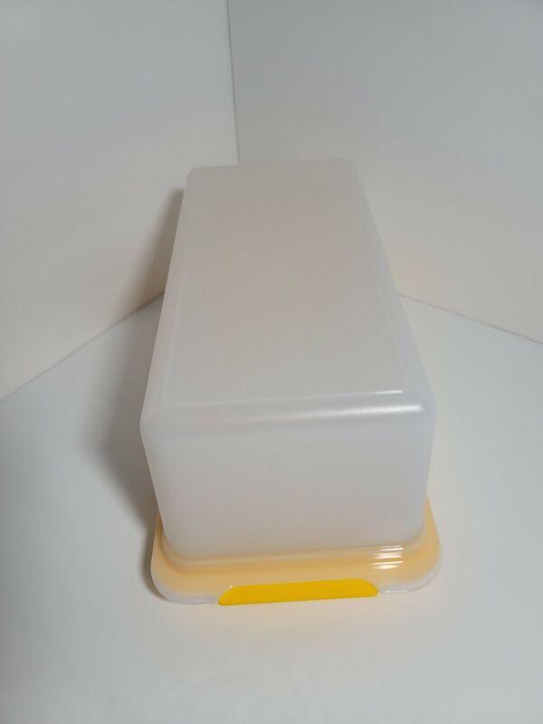 Retro TUPPERWARE Bread Box YELLOW WHITE BPA-Free FREE US SHIPPING