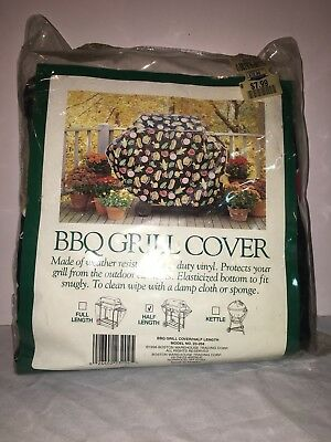Design Pattern Barbecue Grill Cover Weather Resistant Vinyl Half Length Rare New