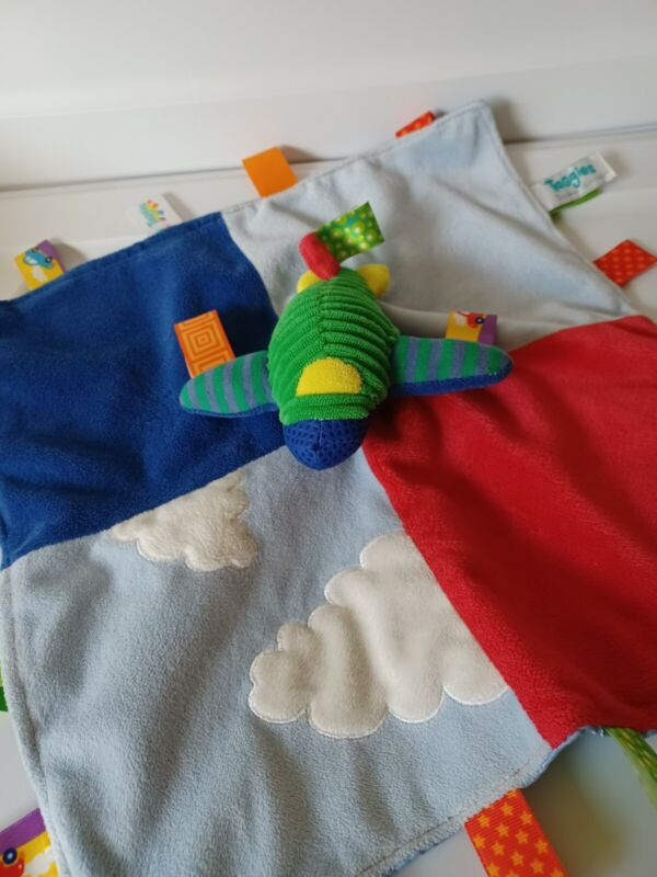 """TAGGIES Airplane Security Blanket LOVEY BLUE RED 13"""" x 13"""" PLUSH Clouds"""