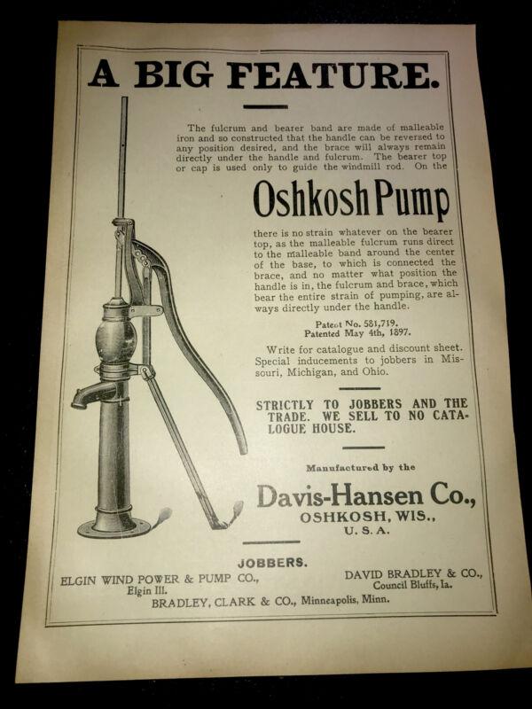 1908 Oshkosh Water Pump Farm Advertising - Wisconsin