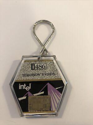 Vintage unused Intel chip keychain i486 i386 Acriart