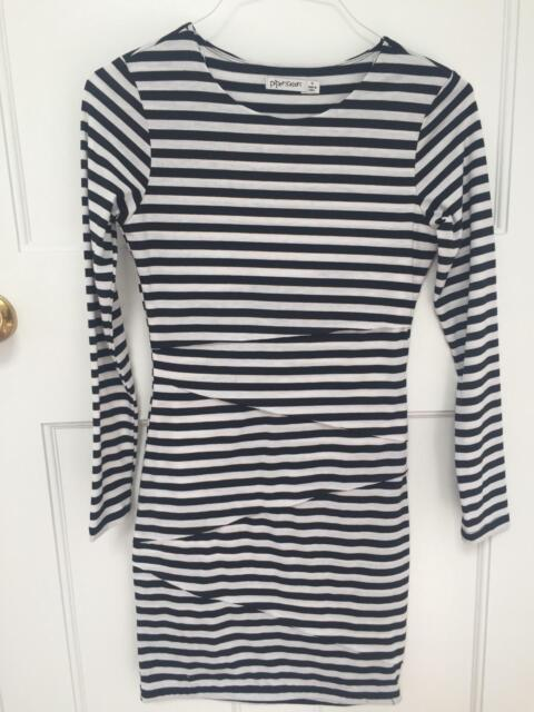 589360dbd2 Black and White stripey long sleeve tight dress