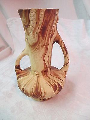 Vtg 1950's Colorado Art Pottery Pine Scented 2 handled Vase brown swirl ROMCO