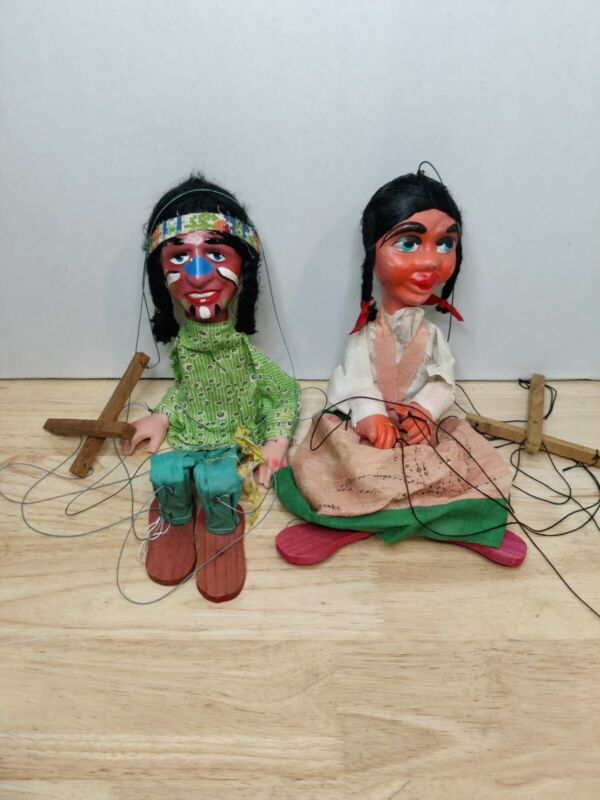 Pair Hand Made Marionette Indian Toy Read Description.