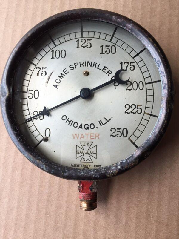 Antique Advertising US Pressure Gauge Acme Sprinkler Co Chicago Steam Punk 1906