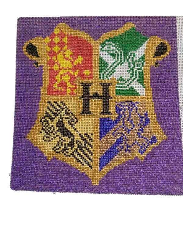 Harry Potter Hogwarts Crest Hand Painted HP Needlepoint Canvas 18 mesh