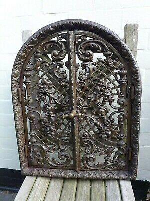 Vintage decorative cast iron fire door clay/bread oven door/pizza smokehouse Y
