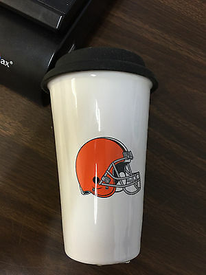 Cleveland Browns Ceramic Coffee Travel Mug Tumbler, NFL, Officially Licensed NEW (Nfl Ceramic Travel Coffee Mug)