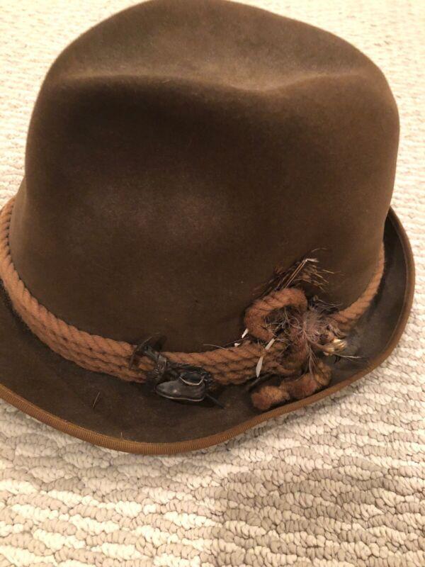 Vintage Oktoberfest Alpine HAT Bavarian  Munich A Breiter beaver pins Fedora 6.5
