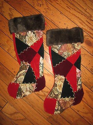 """NWT CHRISTMAS STOCKING BROWN FAUX FUR RED TAPESTRY 18"""" BURGUNDY 2  AVAILABLE"""