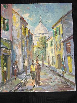 VINTAGE Paris Montmartre cityscape landscape hand painted original oil PAINTING