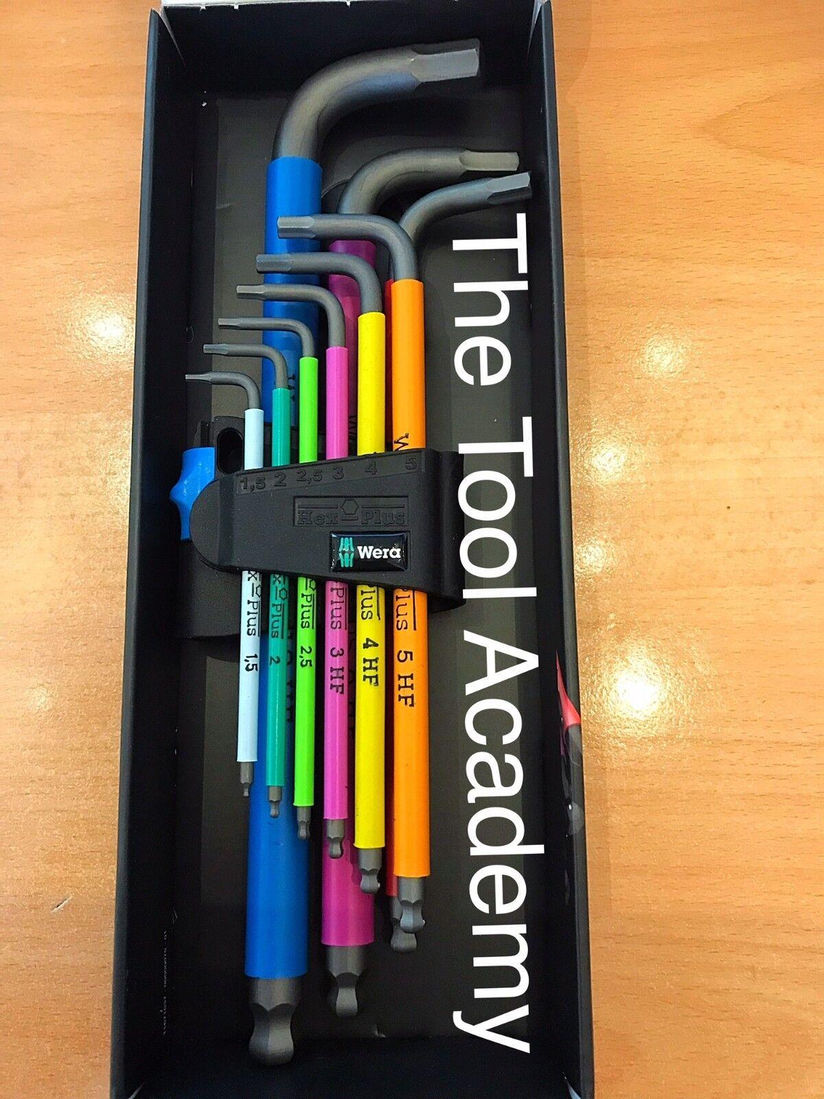 Wera Tools brillantemente color con función de retención del zócalo bola Llave Allen Hex Set
