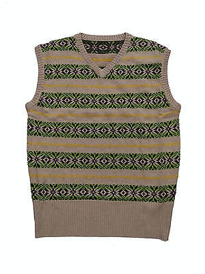"1940s Vintage Style Wartime WW2 Country Gent Fairisle Tank Top M 42-44"" Chest"