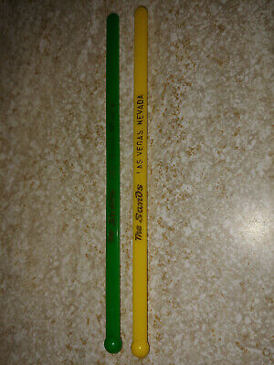 2 Vintage THE SANDS Las Vegas Hotel Swizzle Stick Stirs Yellow & Green