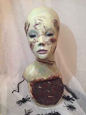 Creepy MANNEQUIN HEAD ZOMBIE Corpse LIFESIZE HALLOWEEN Haunt PROP OoaK - Halloween Mannequin Head